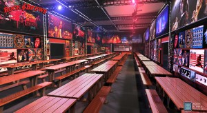 Rock & Brews 120′ x 40′ outdoor beer garden concept.