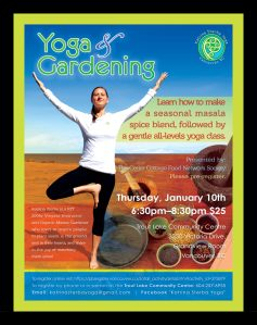 Katrina Sterba Yoga and Gardening Masala Seminar Flyer