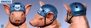 Geico Piggy zip line helmet design.