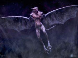 Winged vampire creature concept.