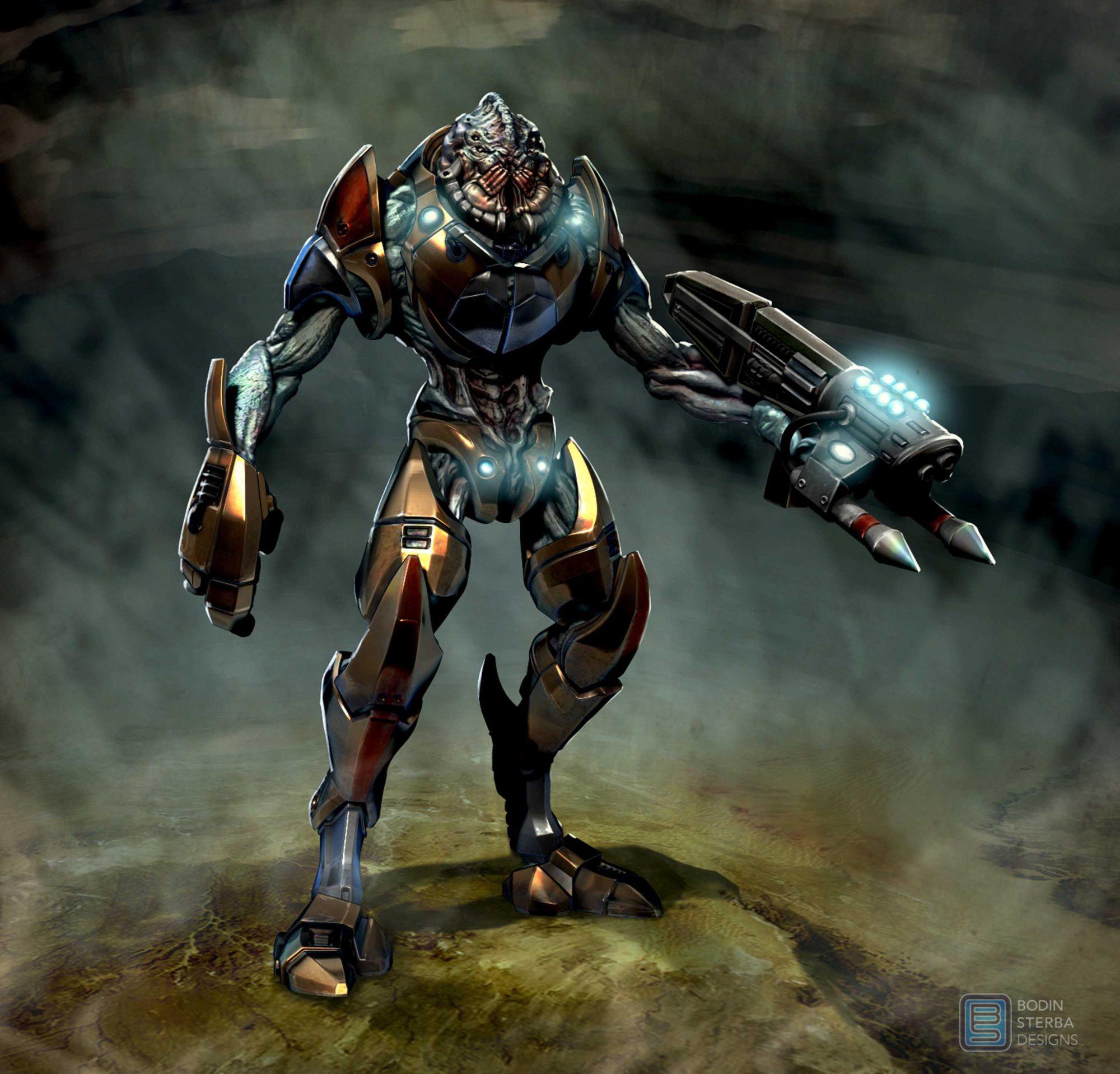 Alien soldier concept- front view.