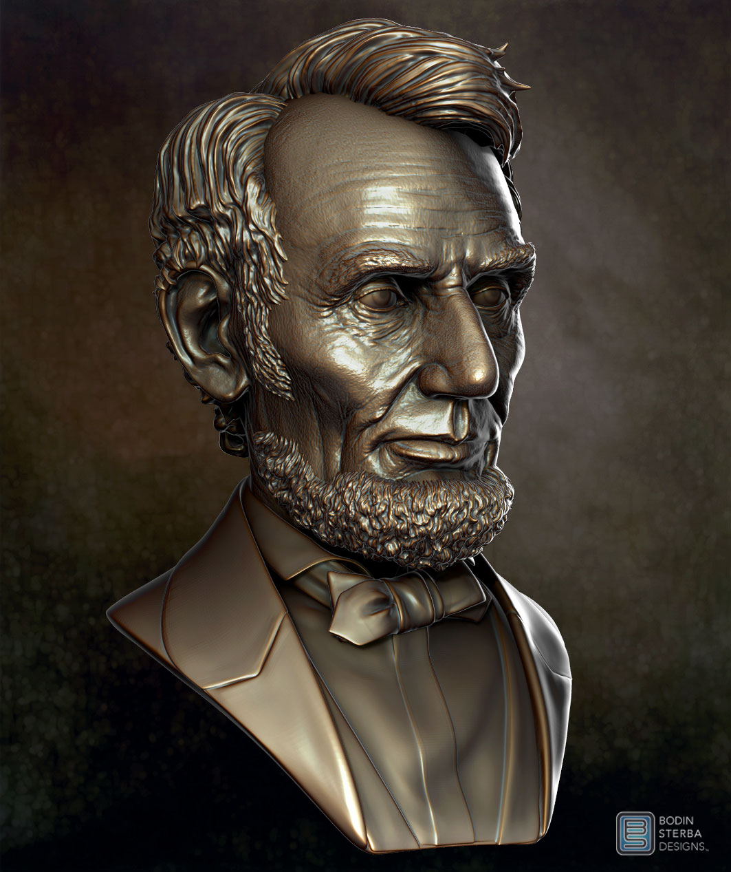 Abe Lincoln Bust sculpt- three quarter view
