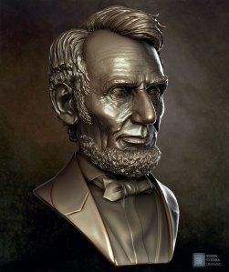 Abe Lincoln Bust sculpt- three quarter view