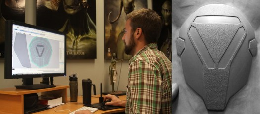 Left image: Me at Legacy modeling the shoulder piece. Right image: the 3D printed piece.