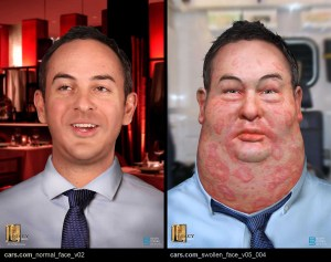 """Swollen face design for the """"Try Something New"""" Cars.com commercial."""