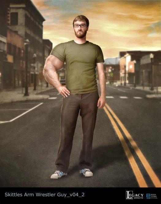 Skittles strong-arm guy design for Superbowl 2015 commercial