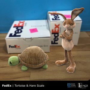 "FedEx ""Tortoise & the Hare"" character designs"