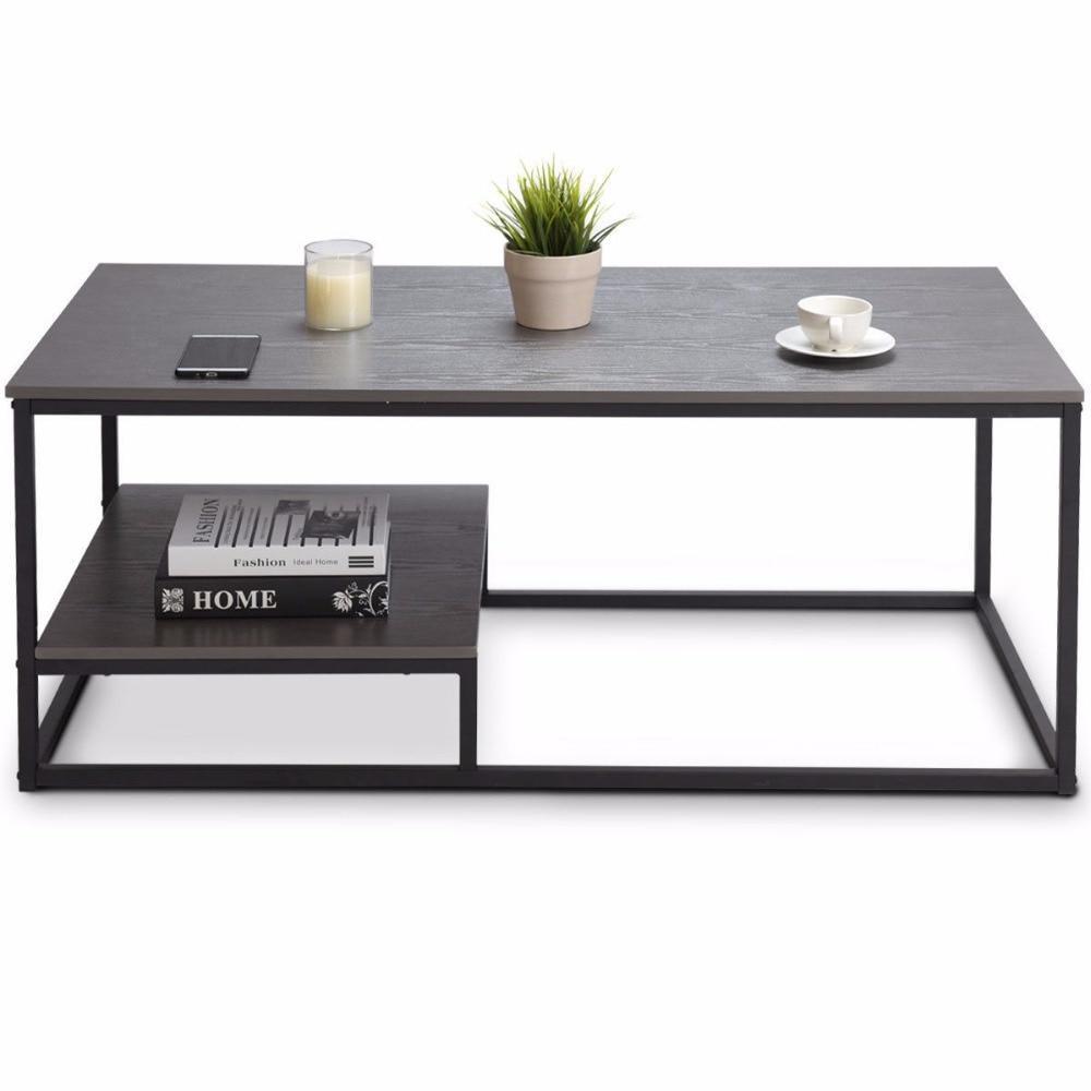 2 tier modern wood steel coffee table