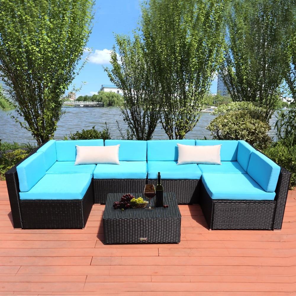 7 piece pe rattan patio garden sofa set