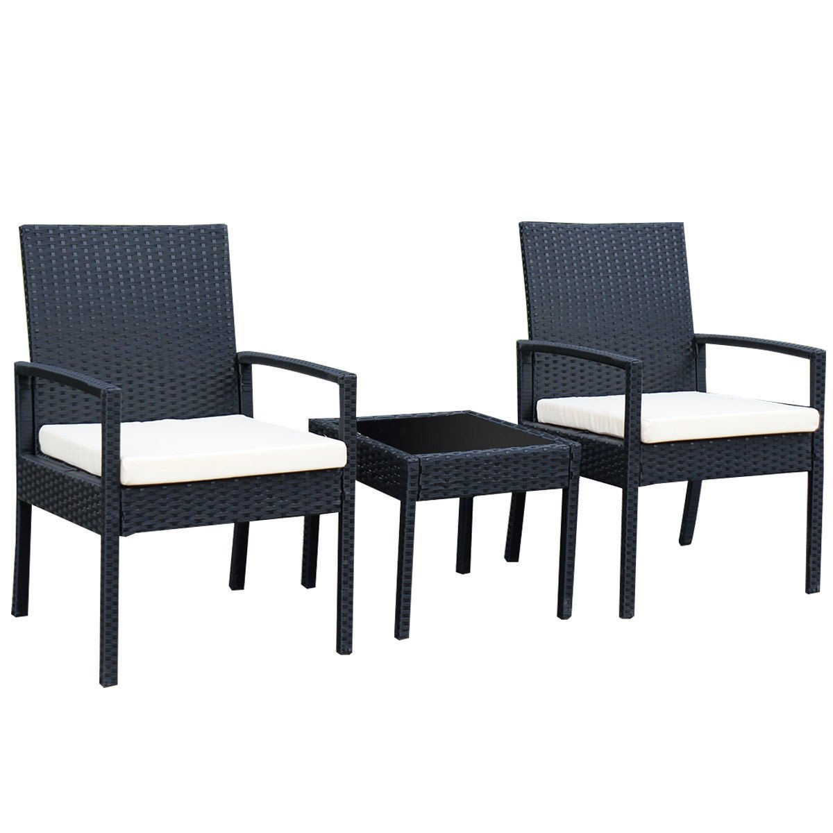 3 piece outdoor rattan patio furniture set