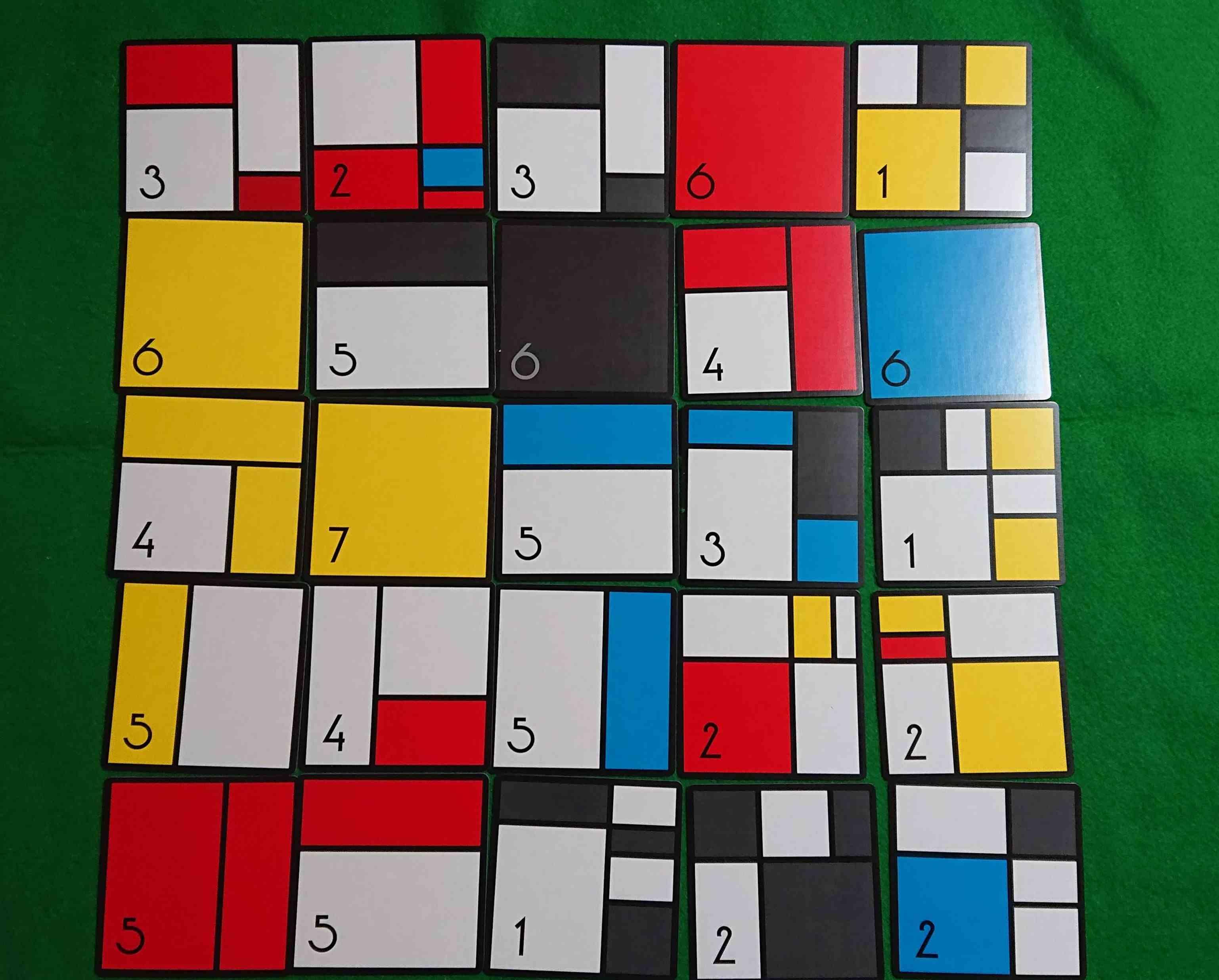 モンドリアンダイスゲーム ダイスを振って芸術作品を作ろう! ボードゲーム