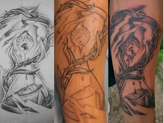 tattoo-monkey-sablier-noir-et-blanc