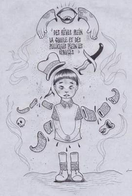 dessin-kim-enfant-tentacules-noir-et-blanc