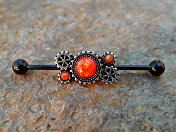 Opal Steampunkgears industrial piercing bar body jewelry