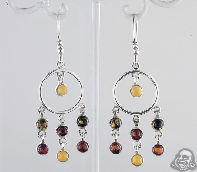 Silver And Amber Chandelier Earrings