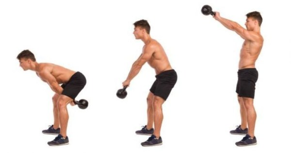 Two Arm Kettlebell Swing Illustrated Exercise Guide