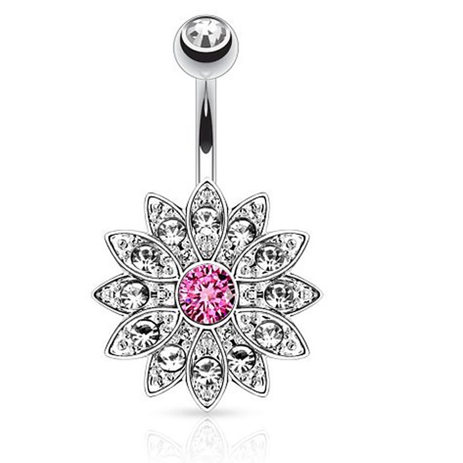 Dazzling Crystal Sunflower Petal Navel Piercing Silver