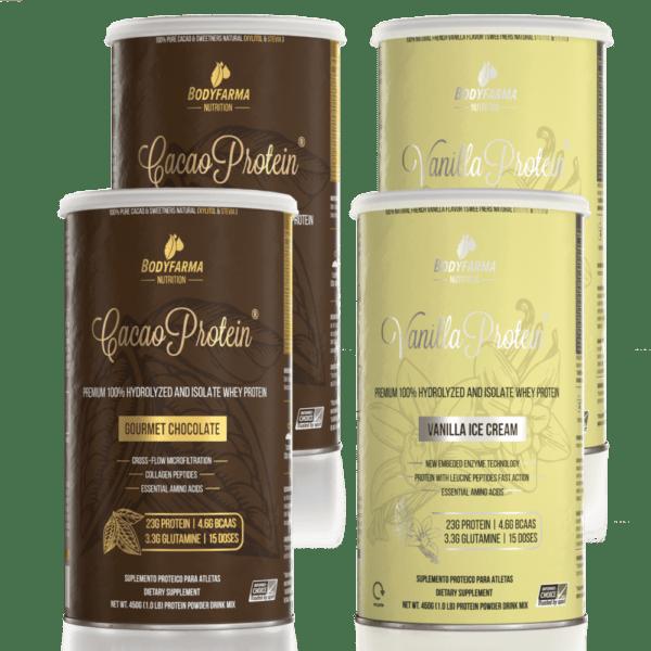 Kit 2 Cacao Whey Protein Gourmet Chocolate 450g + 2 Vanilla Whey Protein Ice-Cream 450g