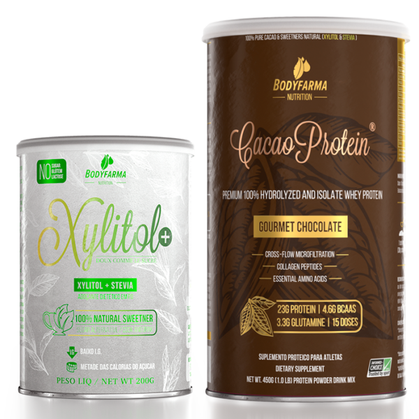 1 Cacao Whey Protein 450g + 1 Pote Xylitol+ 200g