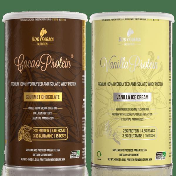 Kit Cacao Whey Protein Gourmet Chocolate 450g + Vanilla Whey Protein Ice-Cream 450g