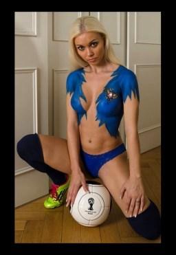 Fussball Bodypainting Fotoshooting Russland