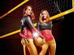 Bodypainting Fotoshooting mit Volleyball Meistern