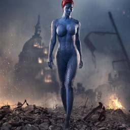 Bodypainting Micaela Schäfer Blaue Superheldin