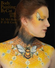 Bee neck bodypaint on Mel by Cat pics DR Cook look r bpc