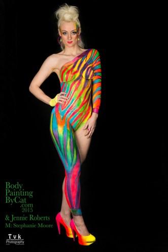 Urban Jungle neon zebra on Steph by Cat Finlayson& Jennie Roberts, TVK photography atood logo