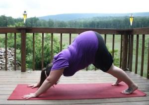 Image of me, a fat yogi, in downward facing dog