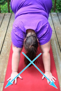 An image showing my inner elbow creases pointing to the opposite sides of the mat, with arrows illustrating the direciton