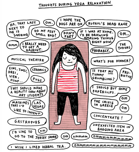 An illustration by Gemma Correll - a girl lies on a yoga mat with funny thought bubbles surrounding her