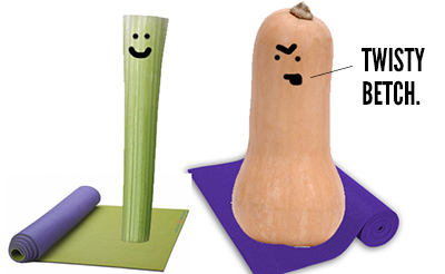 Angry produce doing yoga