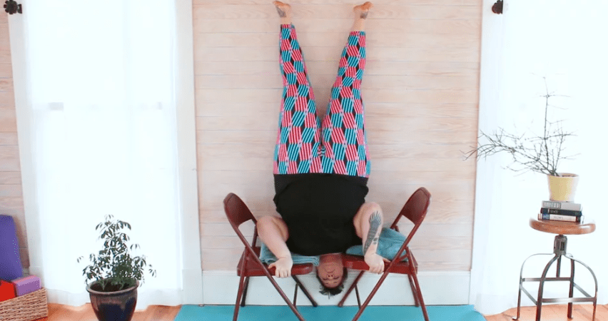 Headless headstand with 2 chairs