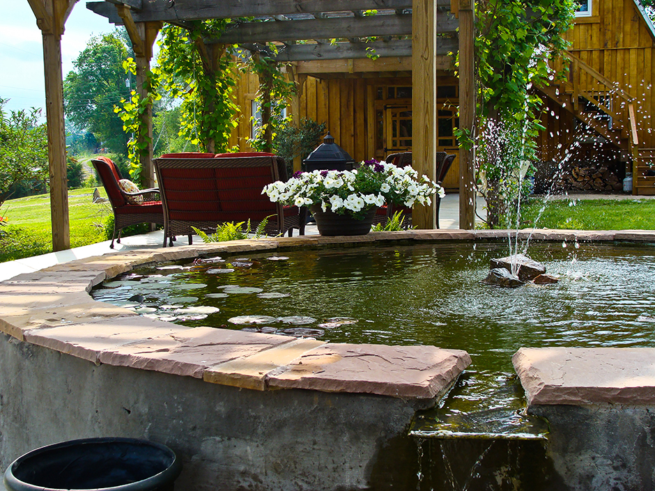 Fountain on the outdoor pergola