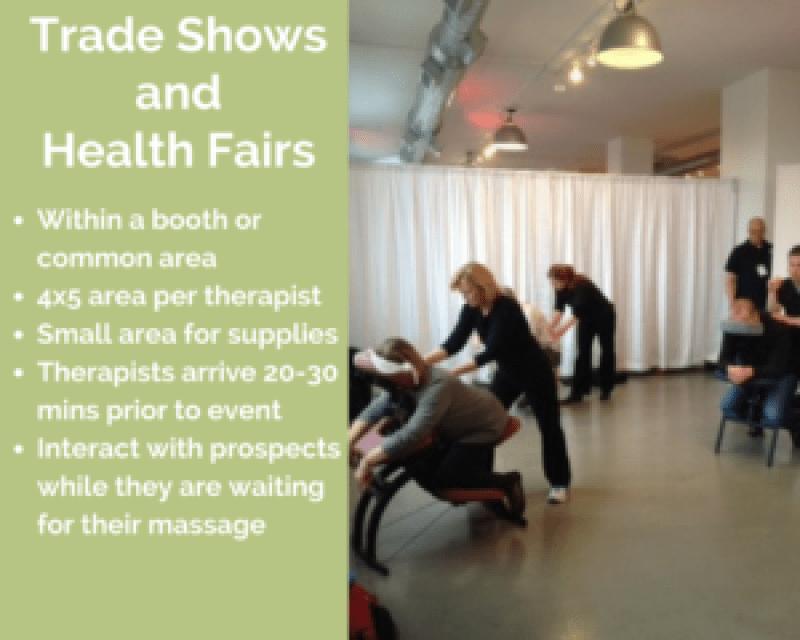 cincinnati corporate chair massage employee health fairs trade show ohio