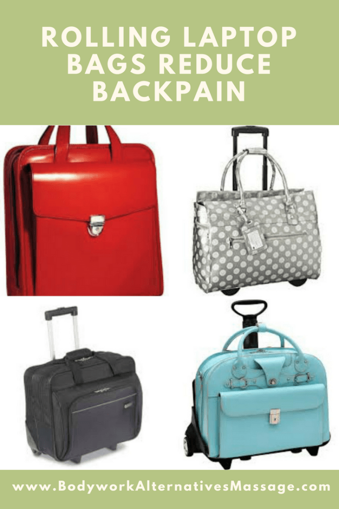 rolling laptop bag reduces back pain