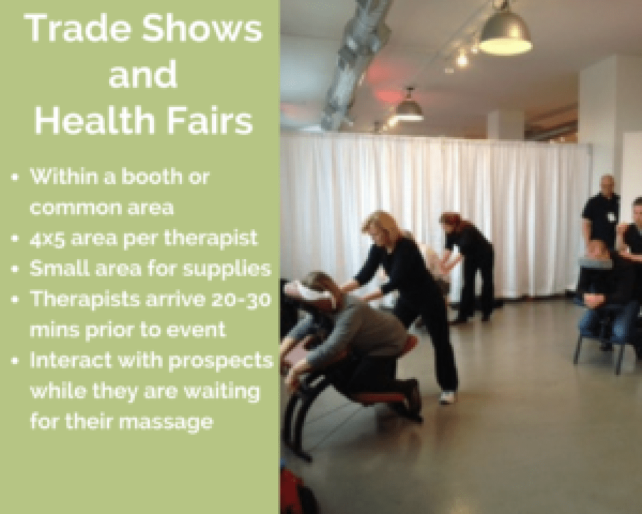 wheeling corporate chair massage employee health fairs trade show illinois