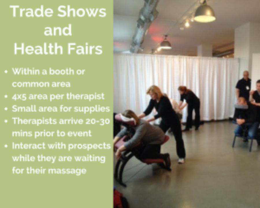 cardington corporate chair massage employee health fairs trade show ohio