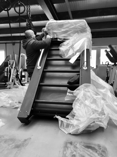 Below is a picture of a Stairmill, as you can see it's a BEAST. With dimensions of over 2 metres high, 1.2 metres wide, 2 metres in length and weighing in at 650kgs, this thing ain't a midget.