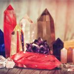 A display of crystal, points, pyramids and obelisks