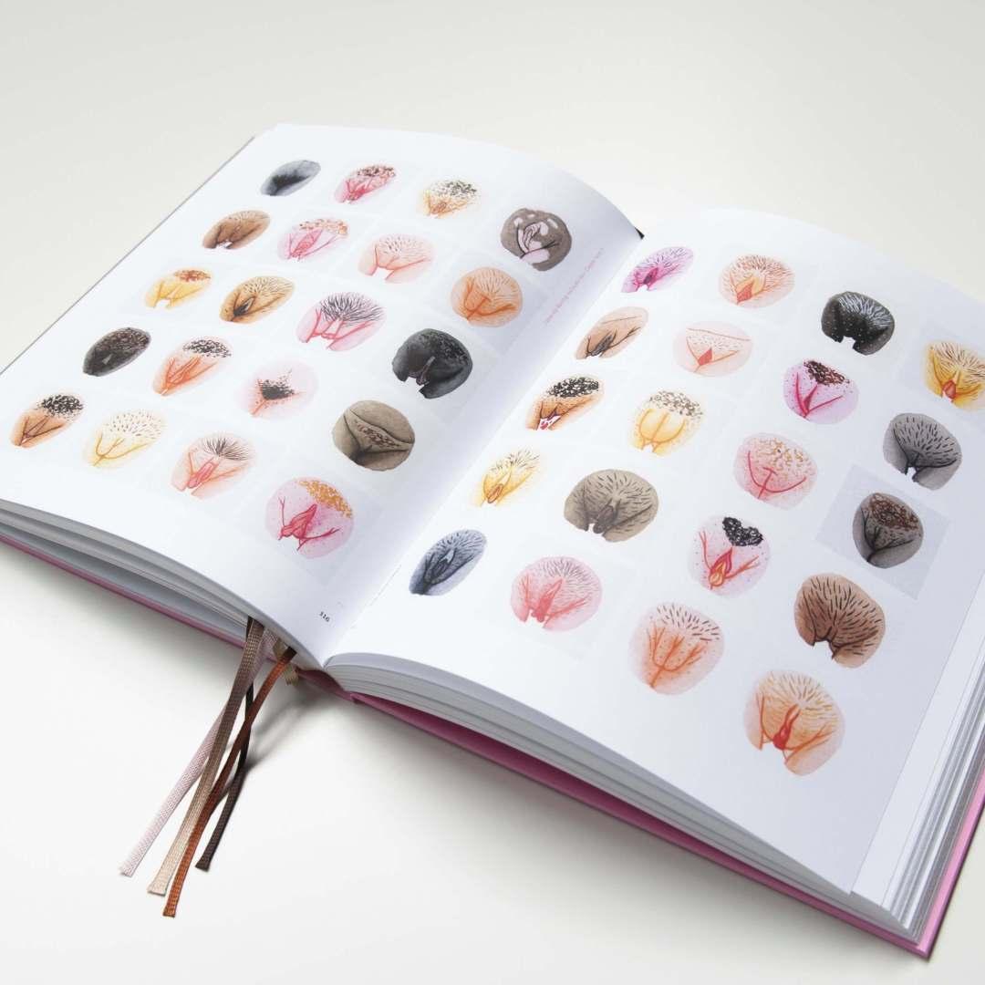 Opengeslagen bladzijden met illustraties van het boek A Celebration of Vulva Diversity