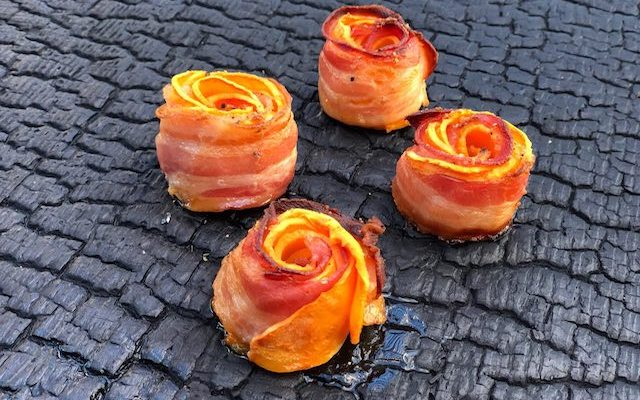 Sweet Bacon Roser – Sødekartoffel Roser med Bacon