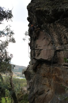 Clipping on some overhung traverse
