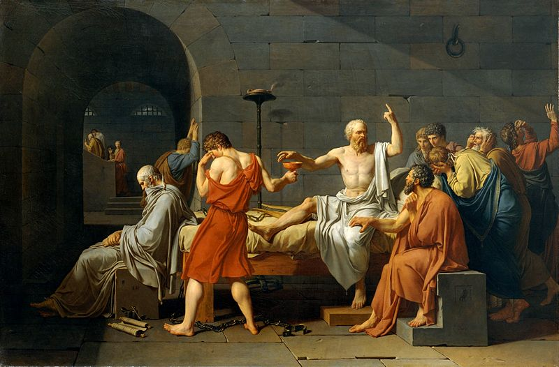 "Jacques-Louis David's  (1787) Oil on canvas entitled ""The Death of Socrates"""