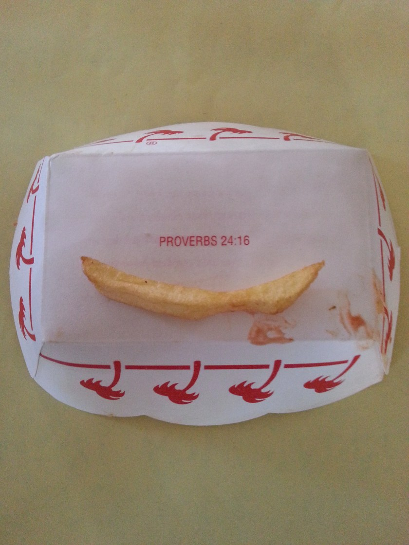 In-N-Out French Fries with bible verse Proverbs 24:16