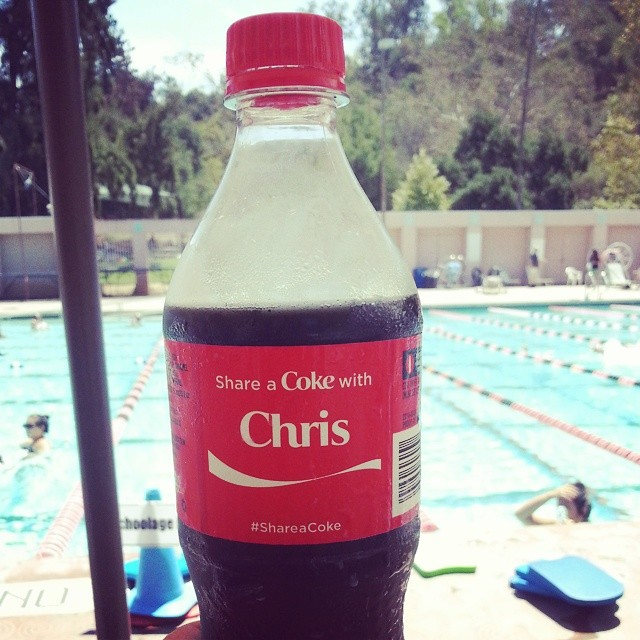 It's a hot day at the pool. #ShareaCoke with me?