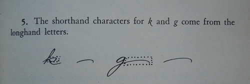 "From Louis Leslie's ""Gregg Shorthand: Functional Method"" The mnemonic for remembering the strokes for k and g."