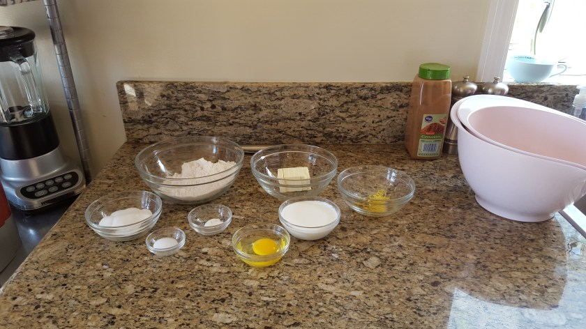 Mise on place for scone ingredients