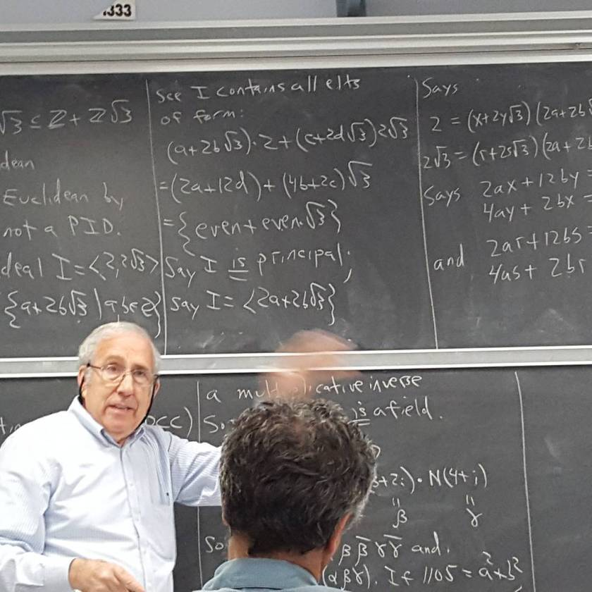 "Michael Miller making a ""handwaving argument"" during a lecture on Algebraic Number Theory at UCLA on November 15, 2015. I've taken over a dozen courses from Mike in areas including Group Theory, Field Theory, Galois Theory, Group Representations, Algebraic Number Theory, Complex Analysis, Measure Theory, Functional Analysis, Calculus on Manifolds, Differential Geometry, Lie Groups and Lie Algebras, Set Theory, Differential Geometry, Algebraic Topology, Number Theory, Integer Partitions, and p-Adic Analysis."